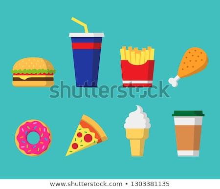 Gyorsételek terv ikon gyűjtemény hamburger kóla hot dog Stock fotó © MarySan