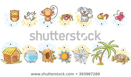összeillő játék állatok illusztráció háttér művészet Stock fotó © bluering