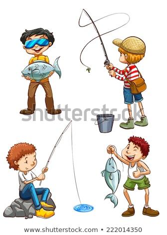 proste · szkic · młody · chłopak · połowów · ilustracja · biały - zdjęcia stock © bluering