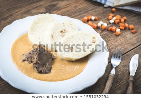 vesepecsenye · krém · tányér · hús · étel · edény - stock fotó © digifoodstock