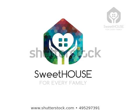 Ubezpieczenia logo szablon ludzka ręka domu Zdjęcia stock © Photoroyalty