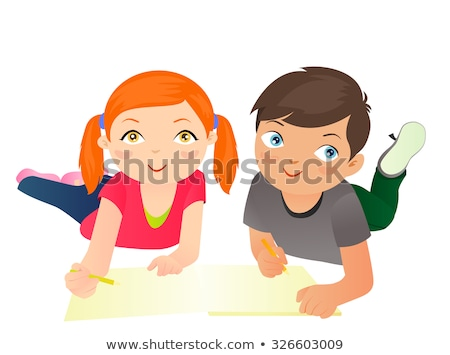 A young girl writing with an empty callout Stock photo © bluering