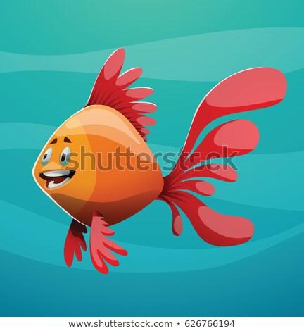 Aranyhal vidám arc illusztráció mosoly háttér művészet Stock fotó © bluering