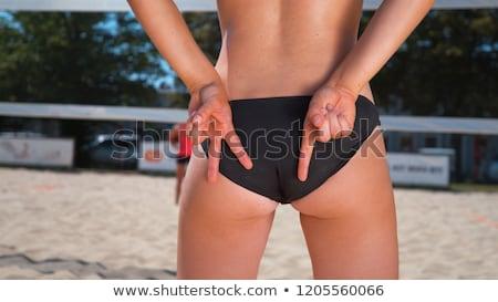 Foto stock: Mulher · praia · voleibol · assinar