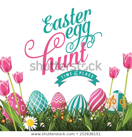 Blue Easter eggs on a color background. EPS 10 Stock photo © beholdereye