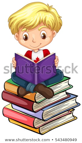 Canadian boy reading books Stock photo © bluering