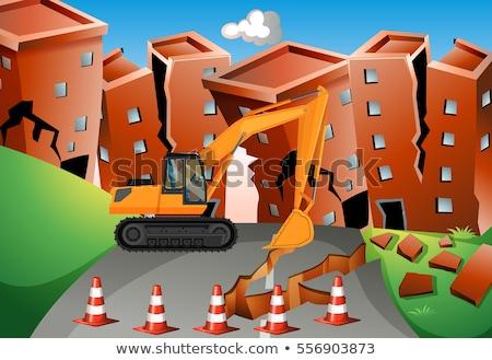 Terremoto cena escavadeira edifícios ilustração paisagem Foto stock © bluering