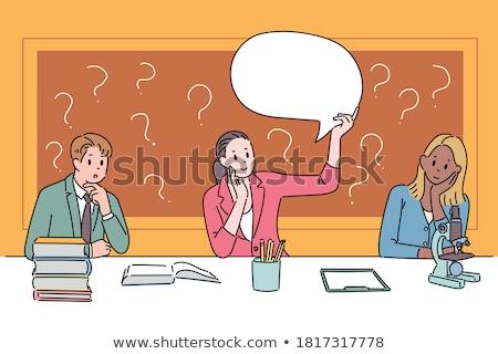 Thoughtful business woman. Cartoon vector illustration isolated  stock photo © maia3000