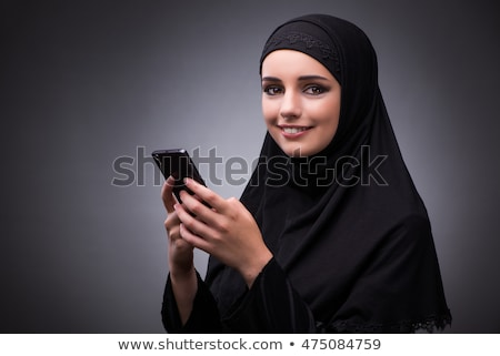 Stockfoto: Moslim · vrouw · zwarte · jurk · donkere · gelukkig · mode