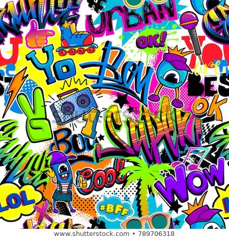 graffiti · végtelen · minta · eredeti · városi · fiatalság · végtelenített · minták - stock fotó © Vanzyst