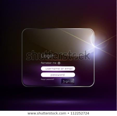 Błyszczący login użytkownik interfejs projektu stronie Zdjęcia stock © SArts