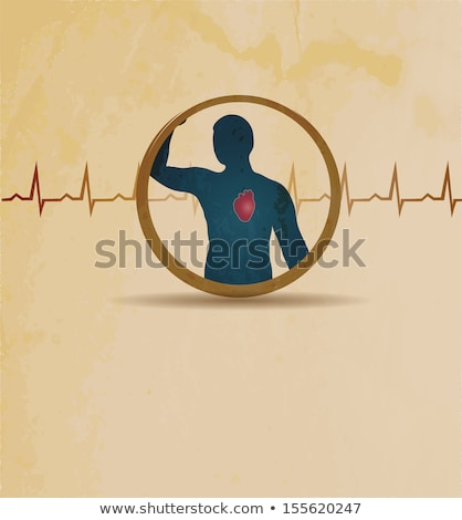 Human normal heart rhythm vintage design stock photo © Tefi