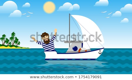 Vektor sport vitorla jacht sziget rajz Stock fotó © Vertyr