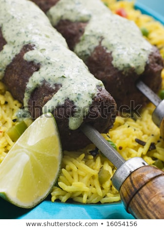 Cordero menta ajo brocheta arroz frutas Foto stock © monkey_business
