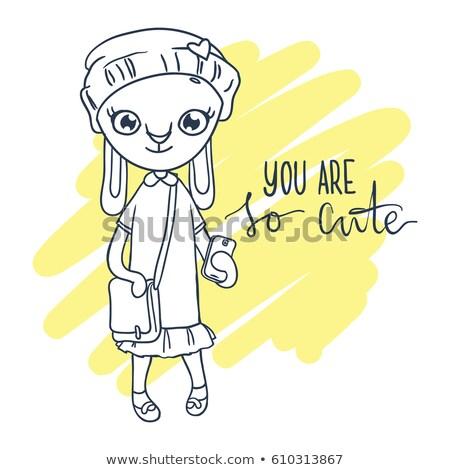 cute rabbit girl in hat phone and bag inscription you are so cute stock photo © vasilixa