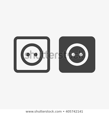 Európa · elektomos · foglalat · ikon · feketefehér · felirat - stock fotó © angelp