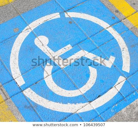niebieski · handicap · podpisania · parking · Francja · drogowego - zdjęcia stock © 5xinc