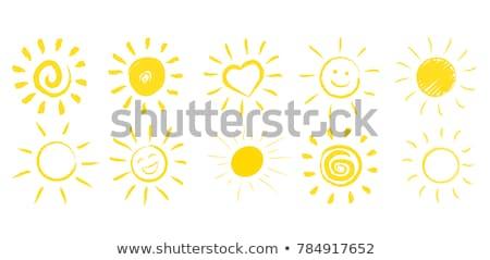 Kézzel rajzolt nap festett olaj pasztell zsírkréták Stock fotó © pakete
