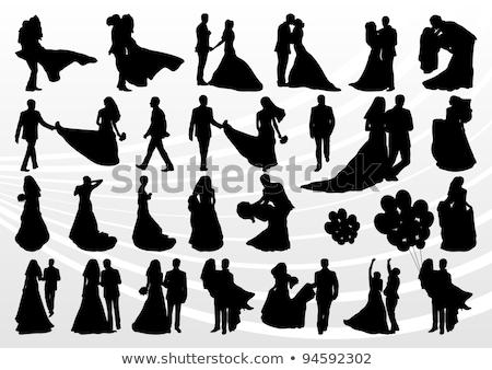 Stock fotó: Menyasszony · vőlegény · virágcsokor · esküvő · sziluett · pár