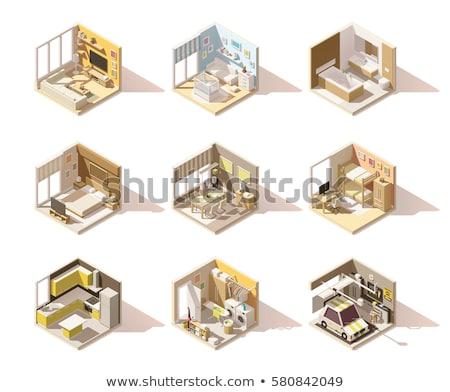establecer · interior · habitaciones · estilo · vintage · ilustraciones - foto stock © biv
