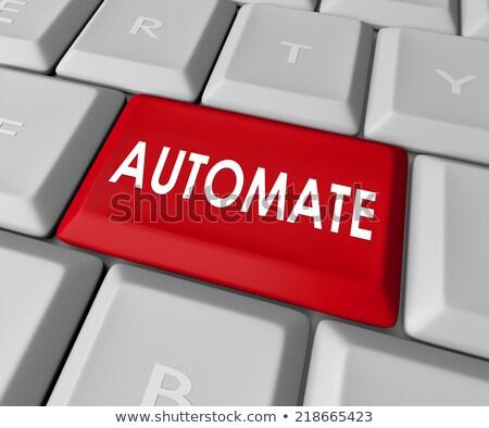 Klavye kırmızı anahtar süreç otomasyon 3d illustration Stok fotoğraf © tashatuvango