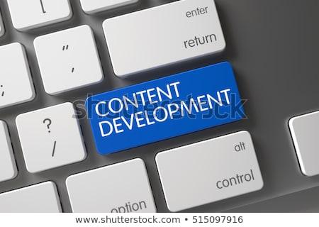 Blu contenuti sviluppo pulsante tastiera 3D Foto d'archivio © tashatuvango