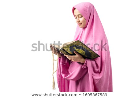 moslim · vrouw · lezing · hijab · geïsoleerd · zwarte - stockfoto © dolgachov