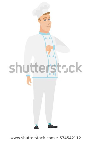 Disappointed caucasian chef cook with thumb down. Stock photo © RAStudio
