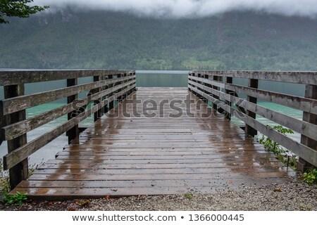 木製 桟橋 湖 曇った 秋 日 ストックフォト © stevanovicigor