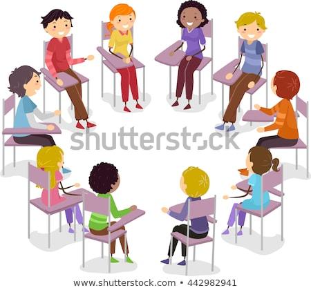 Stickman Teen Conversation Chair Circle Stock photo © lenm