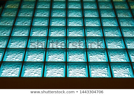Colored frosted glass blocks corridor with staircase Stock photo © stevanovicigor