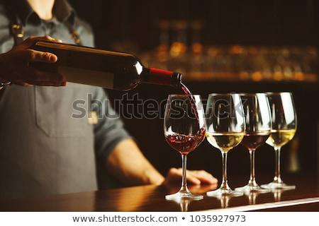 pincérnő · bor · nő · tart · kettő · szemüveg - stock fotó © rastudio