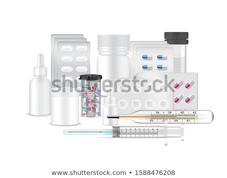 Medical Ampoule, White Package Box, Syringe Vector. Realistic Isolated Illustration Stock photo © pikepicture