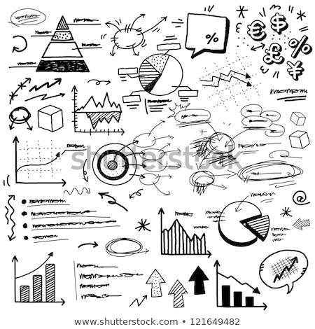 Estadística garabato diseno iconos blanco Foto stock © tashatuvango