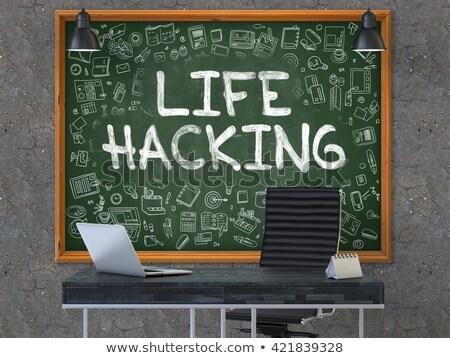 Vida hackers escritório quadro-negro verde Foto stock © tashatuvango