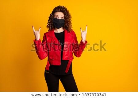 Lány agancs hajviselet bőr maszk gyönyörű Stock fotó © svetography