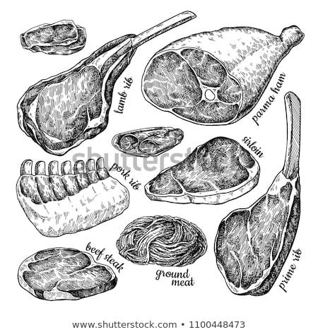 ストックフォト: ベーコン · ステーキ · 骨 · 孤立した · 白 · 新鮮な
