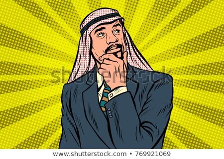 Ouderen arab zakenman denker pose pop art Stockfoto © studiostoks