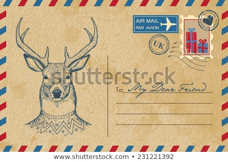 Christmas vintage postcard with reindeer Stock photo © Sonya_illustrations