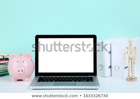 Blue Piggybank On Laptop Keypad Stock photo © AndreyPopov