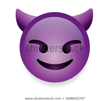 Stock photo: Angry face emoticon with horns, emoji smiley symbol