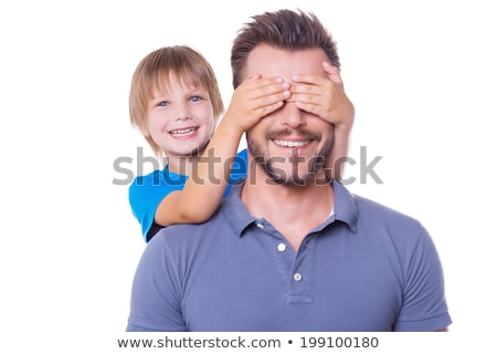 filho · ombro · menino · sessão · pai · cara - foto stock © is2