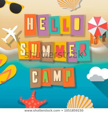 Camp d'été enfants affiche été extérieur activités Photo stock © ikopylov