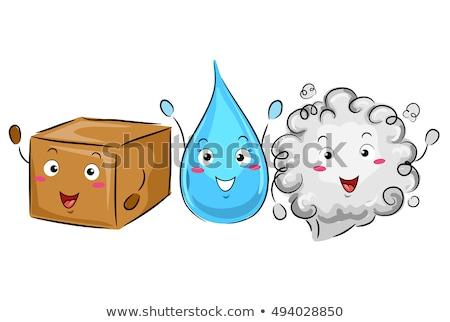 Mascotte wetenschap solide vloeibare gas kleurrijk Stockfoto © lenm