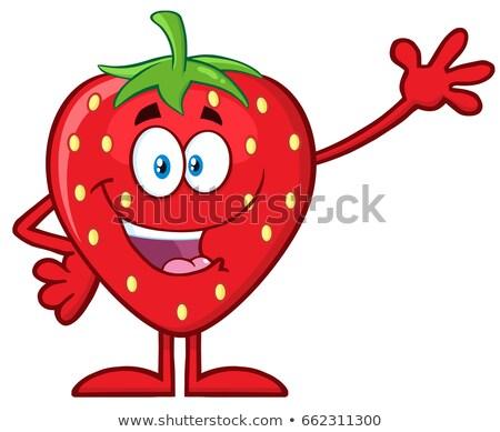 Heureux fraise fruits mascotte dessinée personnage Photo stock © hittoon