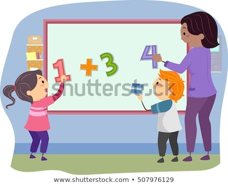 Stickman Kids Teacher Math Solve Board Stock photo © lenm