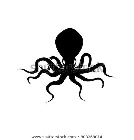 Enojado negro siluetas pulpo mascota de la historieta carácter Foto stock © hittoon