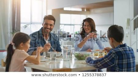 Portré mosolyog család ebéd együtt étkezőasztal Stock fotó © wavebreak_media