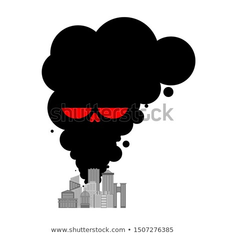 Exhaust gases from city. Black Smoke skull. Environmental pollut Stock photo © MaryValery
