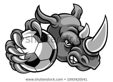 rhino holding soccer football ball mascot stock photo © krisdog